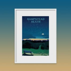 hampstead heath night poster print