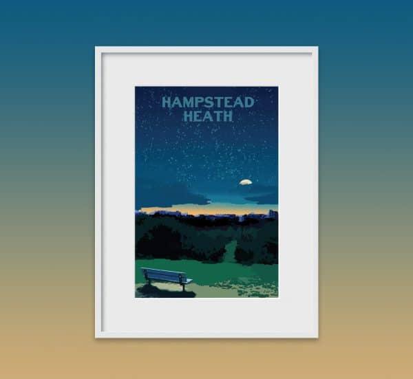 hampstead heath night poster print