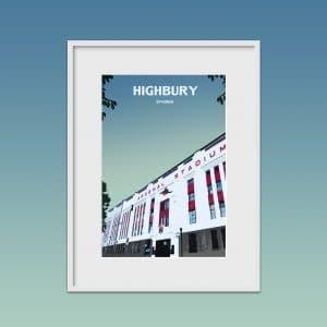 highbury stadium poster print