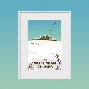 the wittenham clumps winter poster print