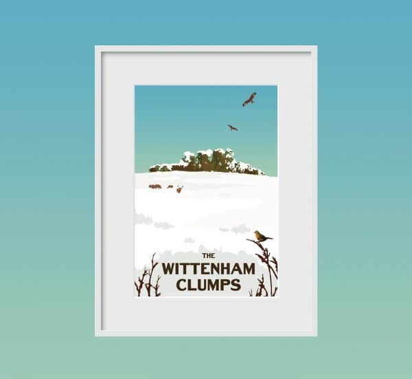 the wittenham clumps winter poster print