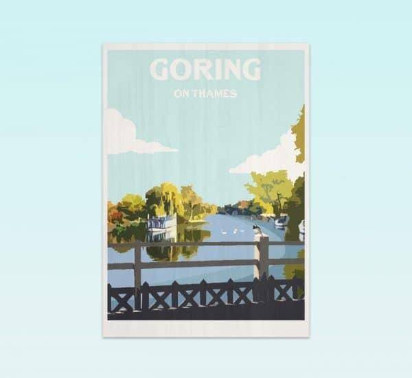 Goring on thames postcard print