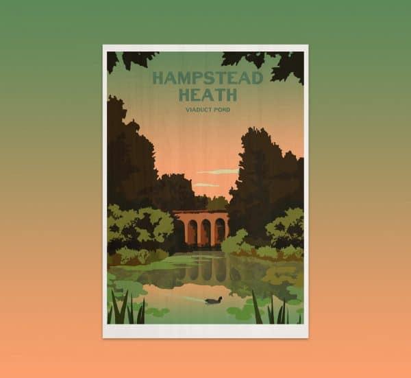 hampstead heath viaduct pond postcard print