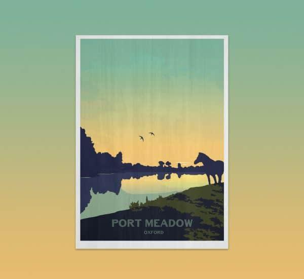 port meadow oxford postcard print