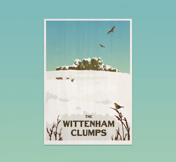 the wittenham clumps winter postcard print